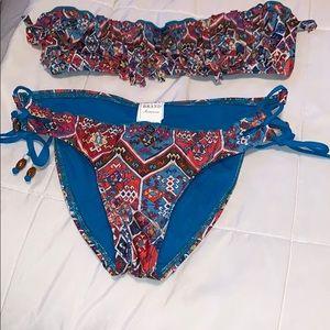 Lucky Brand Bikini Multicolored Fringe